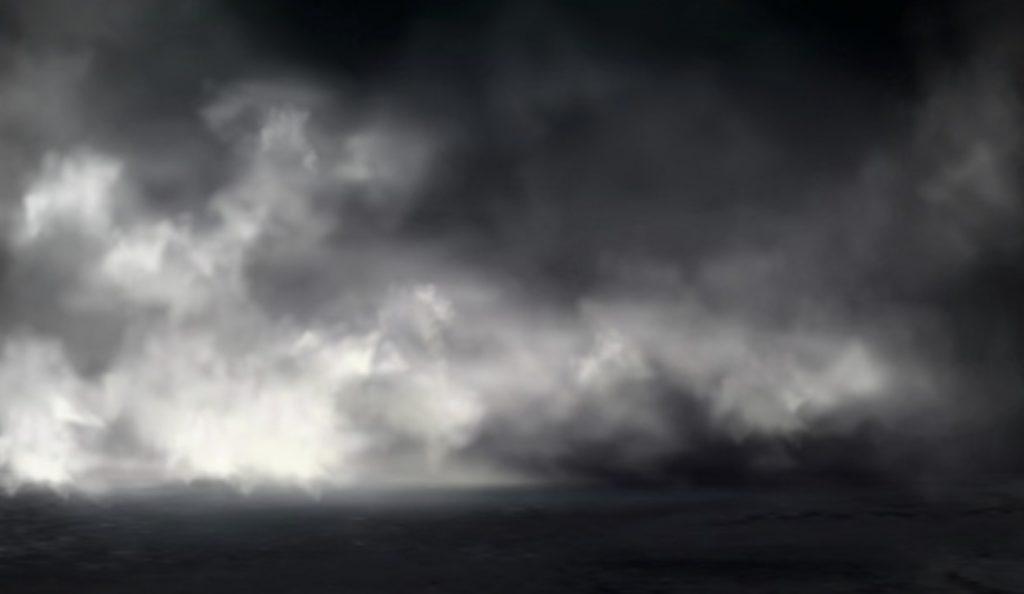 暗い空に風景